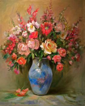 Title: Floral for Mom , Size: 30 x 24 , Medium: Oil on Canvas