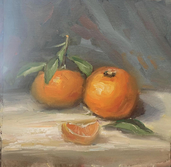 Title: Oranges , Size: 10 x 10 , Medium: Oil on Panel