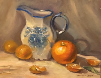 Title: Blue/White Pitcher with Oranges , Size: 11 x 14 , Medium: Oil on Panel