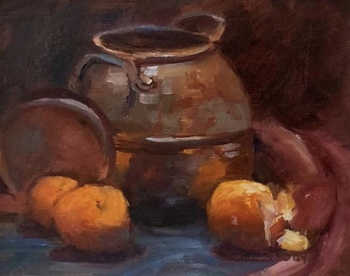 Title: Copper with Oranges , Size: 8 x 10 , Medium: Oil on Panel