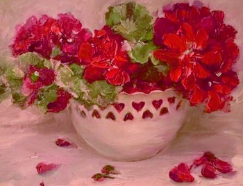 Title: Geraniums with Hearts , Size: 11 x 14 , Medium: Oil on Panel