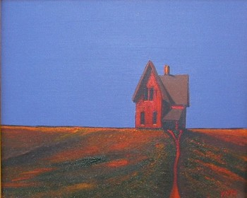 Title: RED HOUSE II , Size: 8 x 10 , Medium: Acrylic