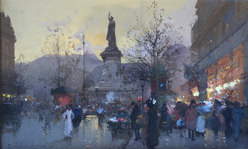 Title: PLACE DE LA REPUBLIQUE , Size: 7.5 x 12.5 , Medium: Gouache