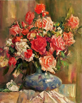 Title: Roses in Bloom , Size: 30 x 24 , Medium: Oil on Canvas