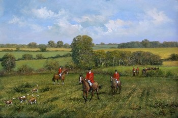 Title: HUNTING SCENE II , Size: 24 x 36 , Medium: Oil on Canvas