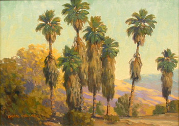 Title: PALMS, SANTA BARBARA , Size: 12 x 16 , Medium: Oil on Canvas
