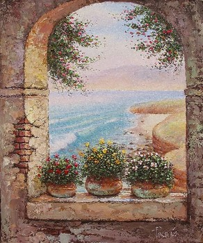 Title: LA JOLLA ARCH AND POTS , Size: 24 x 20 , Medium: Oil on Canvas