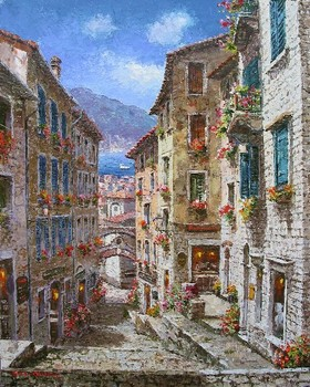 Title: KOTOR - MONTENEGRO , Size: 30 x 24 , Medium: Oil on Canvas
