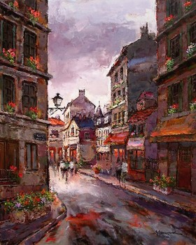 Title: PARIS ST. SCENE , Size: 30 x 24 , Medium: Oil on Canvas
