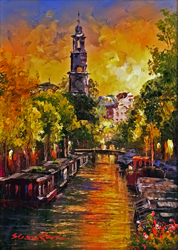 Title: Amsterdam , Size: 10 x 8 , Medium: Oil on Canvas