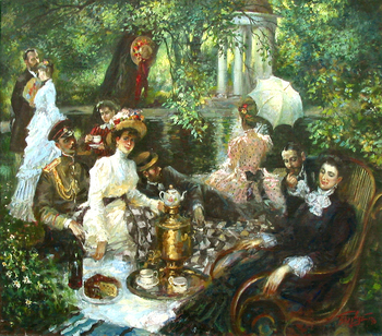 Title: Picnic Visiting Party , Size: 28 x 32 , Medium: Oil on Canvas