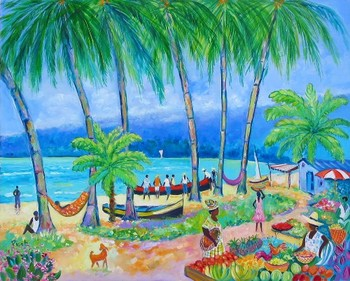 Title: LA PLAGE LA PERLE , Size: 21 x 26 , Medium: Oil on Canvas