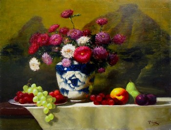 Title: STILL LIFE , Size: 20 x 24 , Medium: Oil on Canvas