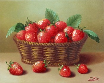 Title: BASKET OF STRAWBERRIES , Size: 8 x 10 , Medium: Oil on Panel