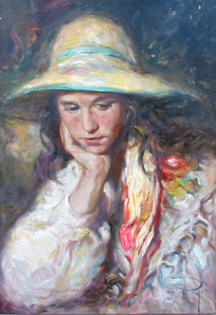 Title: SOMBRERO , Size: 22 x 15 , Medium: Oil on Canvas