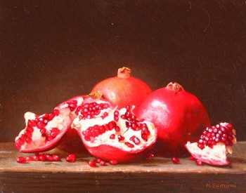 Title: POMEGRANATES , Size: 11 x 14 , Medium: Oil on Canvas