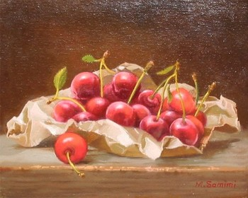 Title: CHERRIES , Size: 8 x 10 , Medium: Oil on Canvas