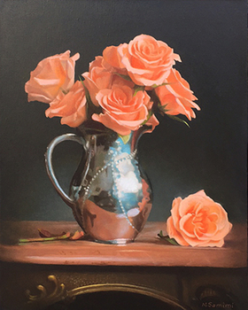 Title: ROSES IN A SILVER PITCH , Size: 20 x 16 , Medium: Oil on Canvas