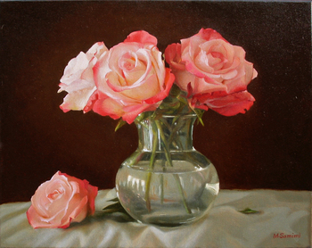 Title: Roses in a Glass Vase , Size: 16 x 20 , Medium: Oil on Canvas