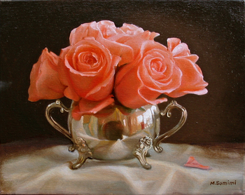 Title: Peach Roses , Size: 11 x 14 , Medium: Oil on Canvas