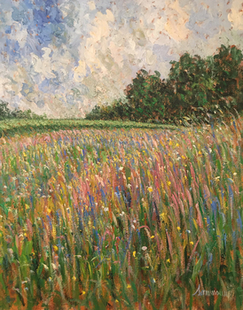 Title: Lupin Field , Size: 30 x 24 , Medium: Oil on Canvas