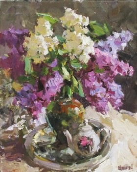 Title: STILL LIFE WITH LILACS , Size: 20 x 16 , Medium: Oil on Canvas