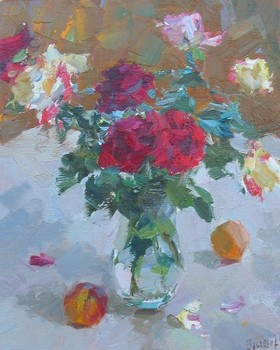 Title: ROSES AND APPLES , Size: 20 x 16 , Medium: Oil on Canvas