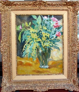 Title: VASE CRYSTAL AU MIMOSA , Size: 14 x 11 , Medium: Oil on Canvas