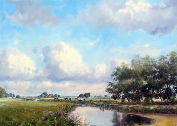 Title: DUTCH SPRING , Size: 20 x 28 , Medium: Oil on Canvas