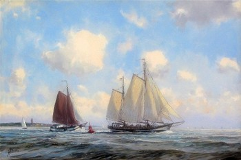 Title: SAILING THE NORTH SEA , Size: 16 x 24 , Medium: Oil on Canvas