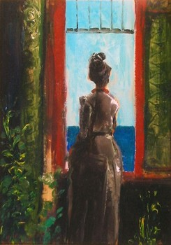 Title: BALCONE A PORTOFINO , Size: 10 x 7 , Medium: Oil on Panel