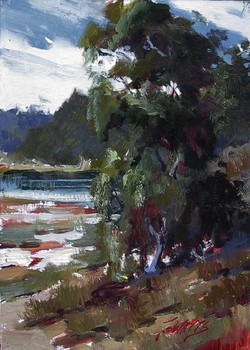 Title: CALIFORNIA LANDSCAPE , Size: 7 x 5 , Medium: Oil on Panel