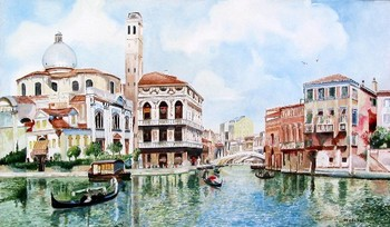Title: GRAND CANAL VENICE , Size: 15 x 25 , Medium: Oil on Canvas