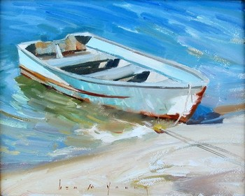 Title: ROW ME TO THE SHORE , Size: 8 x 10 , Medium: Oil on Canvas