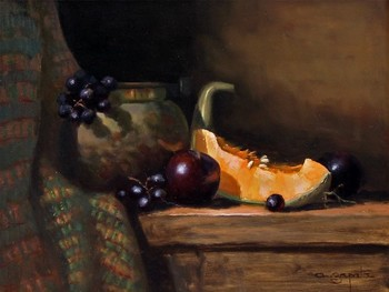 Title: MELON WITH BRASS , Size: 12 x 16 , Medium: Oil on Canvas