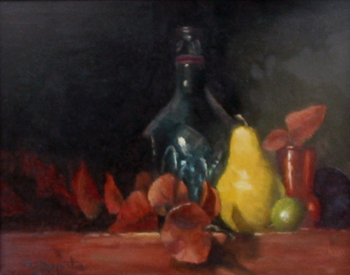 Title: BOTTLE AND PEAR , Size: 11 x 14 , Medium: Oil on Canvas
