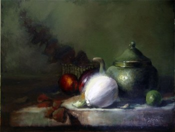 Title: STIL LIFE WITH WHITE ONION , Size: 12 x 16 , Medium: Oil on Canvas